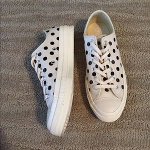 Converse Size 8.5 Leather Polka Dot Worn Once